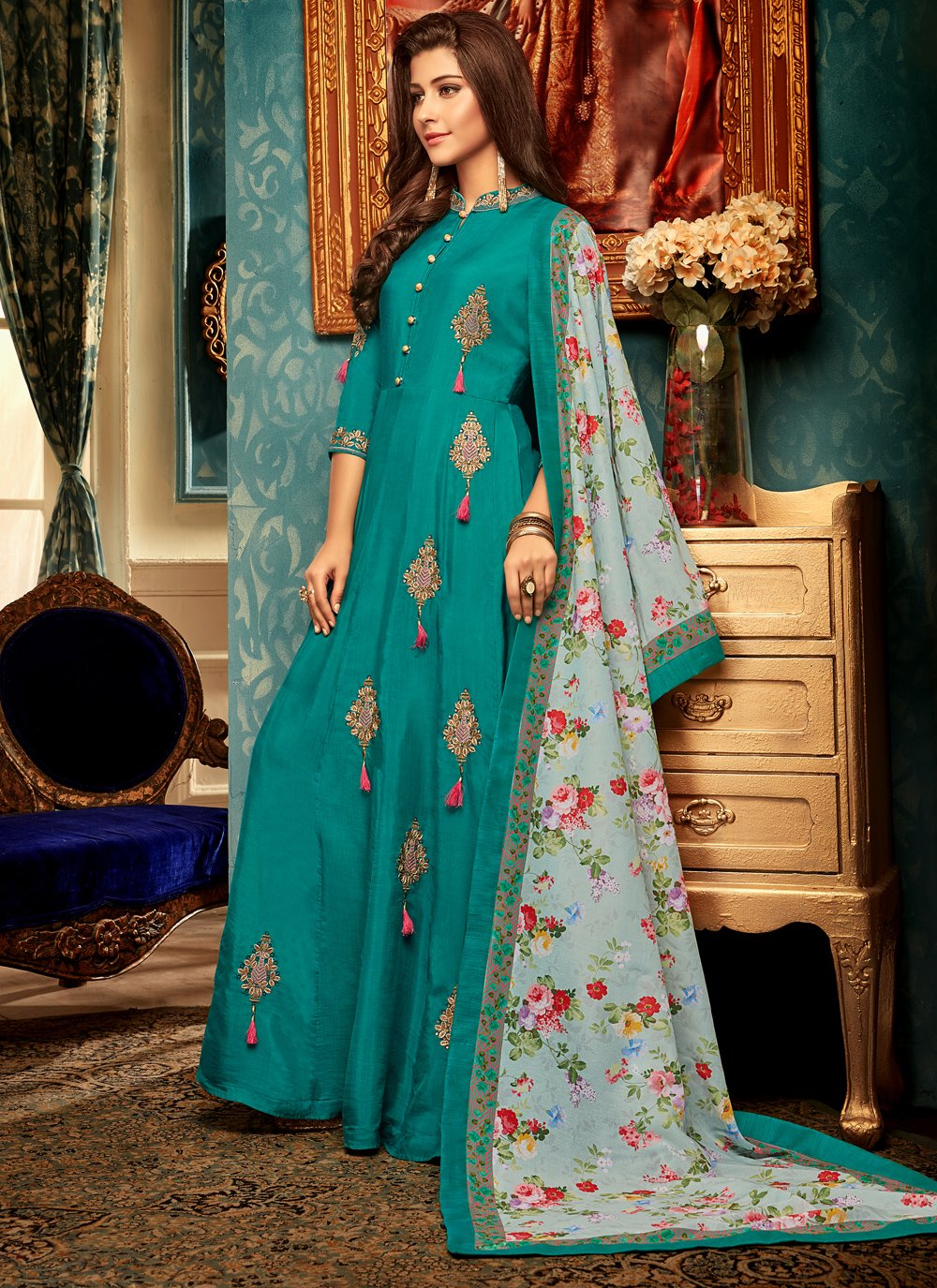 Resham Teal Muslin Designer Gown