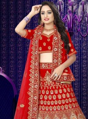 Resham Velvet Red Designer Lehenga Choli