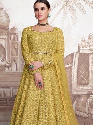 Resham Yellow Georgette Anarkali Suit