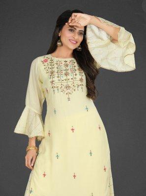 Resham Yellow Muslin Readymade Salwar Kameez