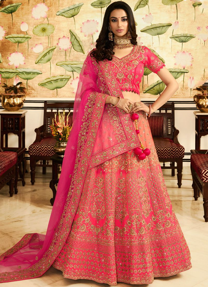 Rose Pink Art Silk Bridal Lehenga Choli