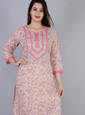 Rose Pink Color Casual Kurti