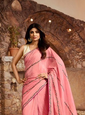 Rose Pink Color Silk Saree