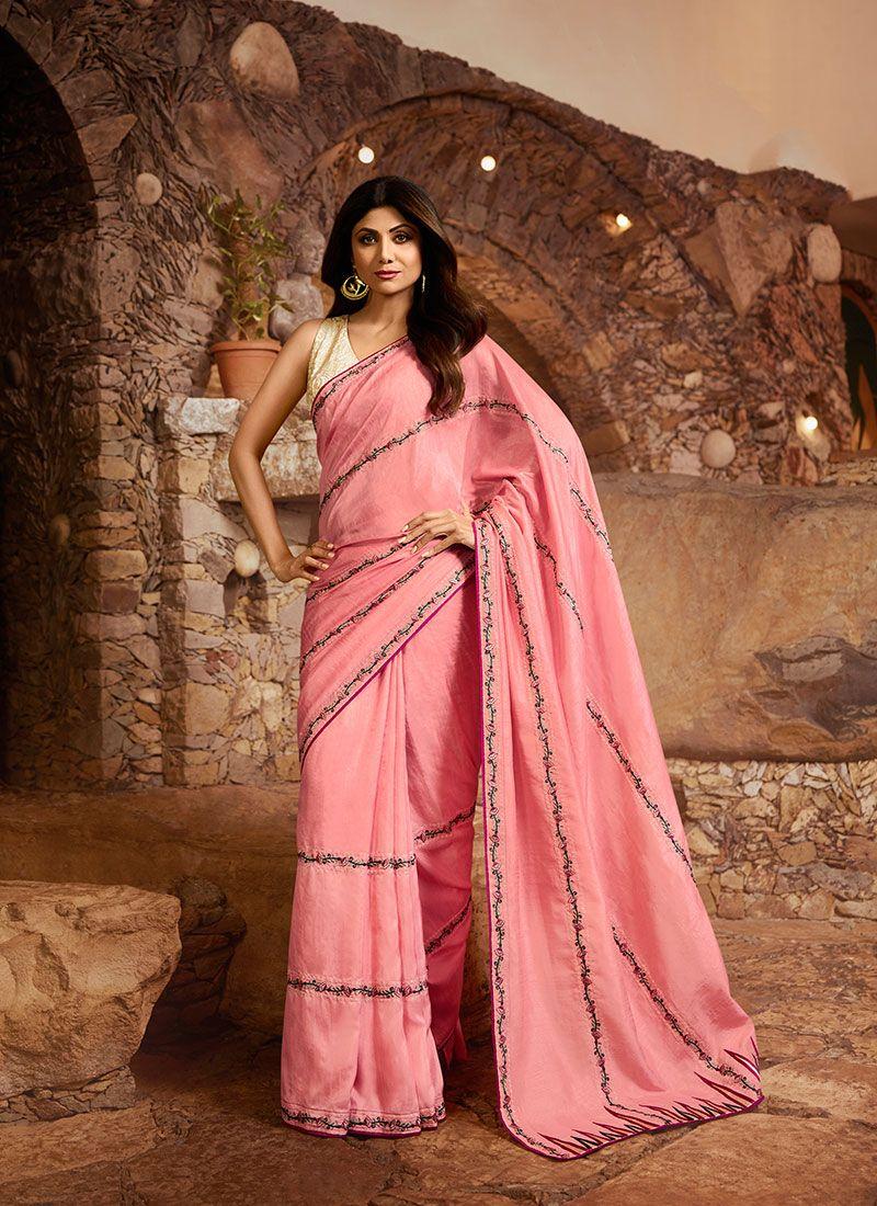 Rose Pink Color Silk Saree