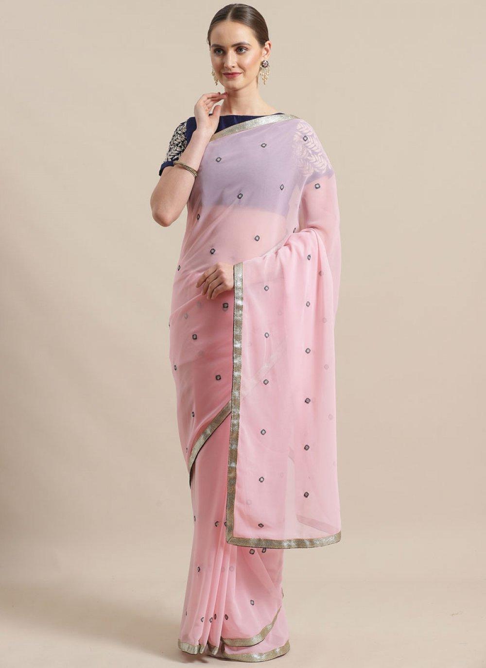 Rose Pink Color Trendy Saree