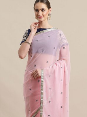 Rose Pink Color Trendy Saree