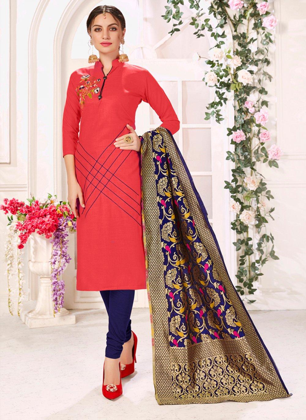 Rose Pink Cotton Trendy Churidar Salwar Kameez