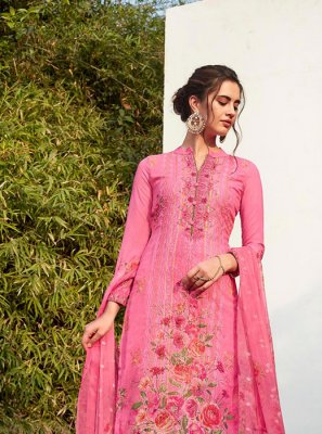 Rose Pink Embroidered Pant Style Suit