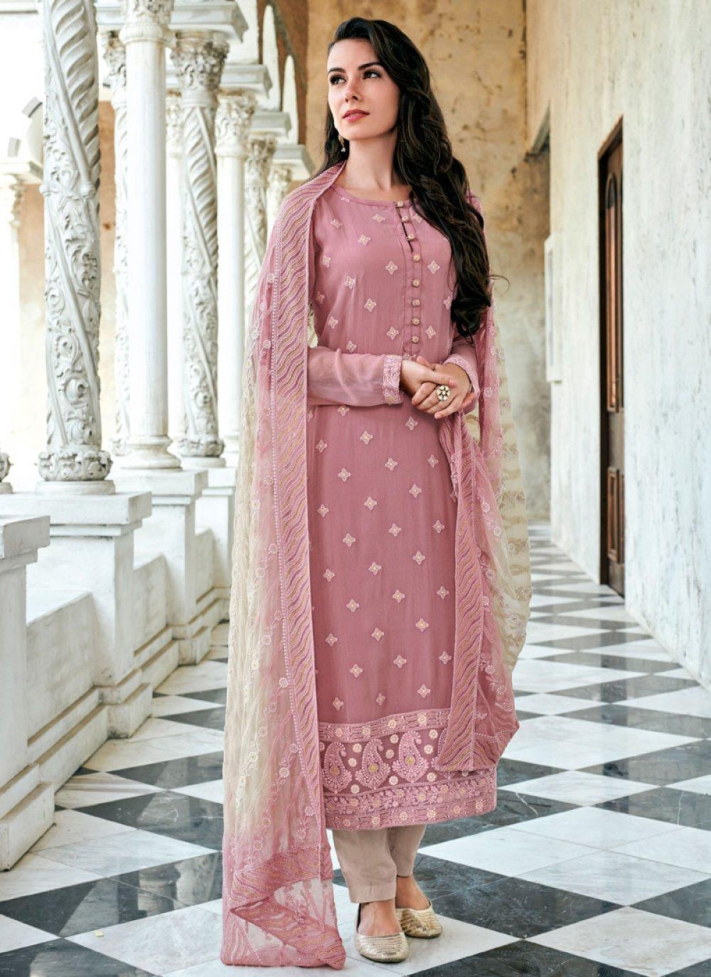 Rose Pink Festival Georgette Straight Salwar Suit