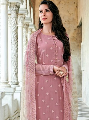 Rose Pink Festival Georgette Straight Salwar Suit