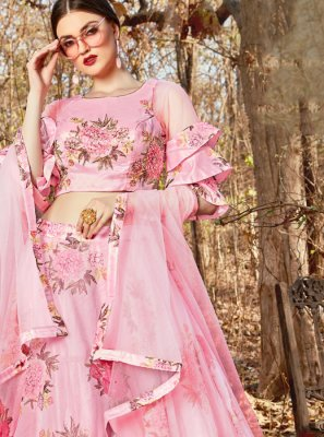 Rose Pink Handwork Reception A Line Lehenga Choli