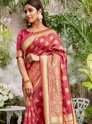 Rose Pink Jacquard Silk Festival Designer Saree
