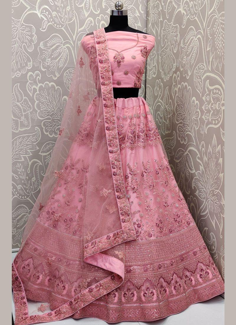 Rose Pink Net Trendy Designer Lehenga Choli