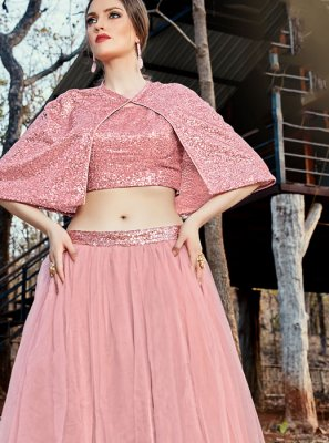 Rose Pink Net Trendy Lehenga Choli