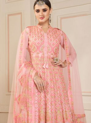 Rose Pink Party Faux Georgette Floor Length Anarkali Suit