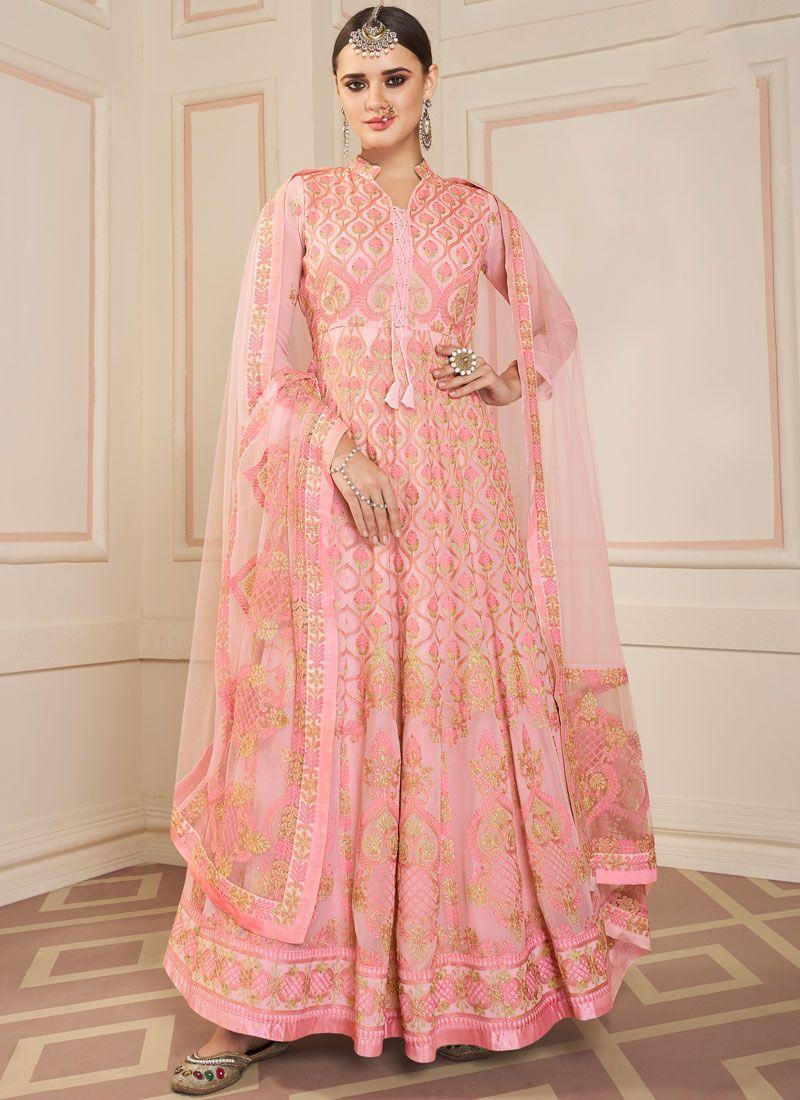 Rose Pink Party Faux Georgette Floor Length Anarkali Suit