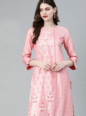 Rose Pink Poly Silk Casual Kurti