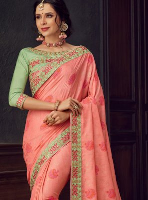 Rose Pink Poly Silk Embroidered Classic Designer Saree