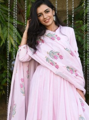 Rose Pink Silk Designer Gown