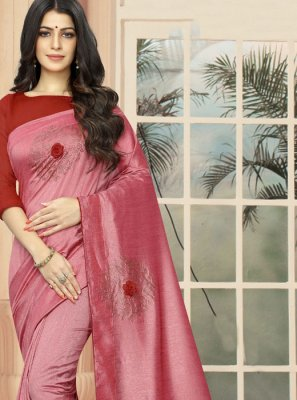 Rose Pink Silk Designer Saree