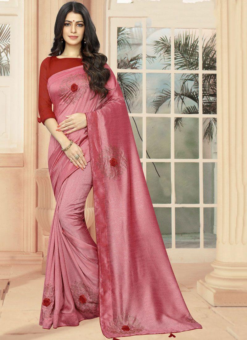 Rose Pink Silk Designer Saree
