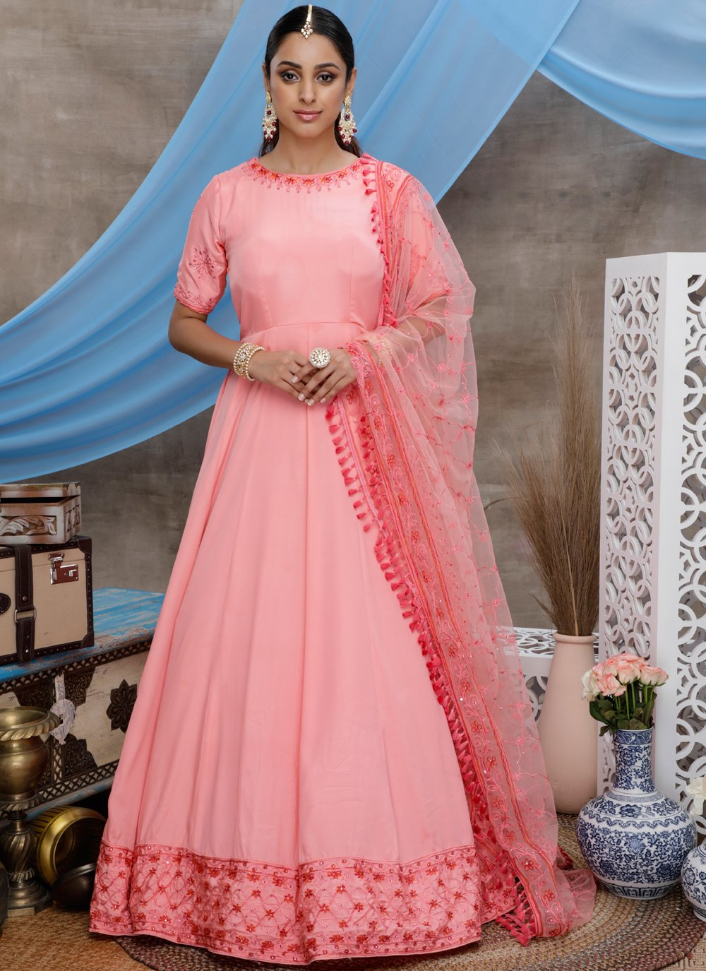 Rose Pink Silk Trendy Gown