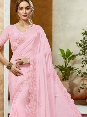 Rose Pink Stone Work Reception Classic Designer Saree