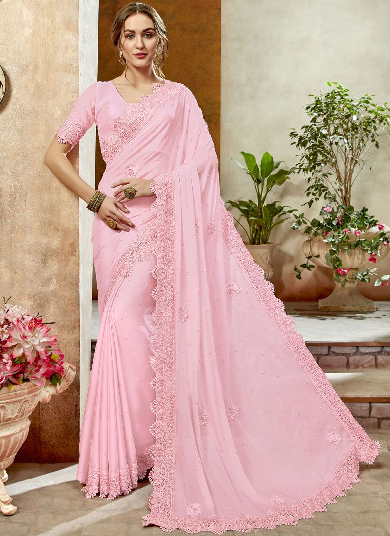 Rose Pink Stone Work Reception Classic Designer Saree