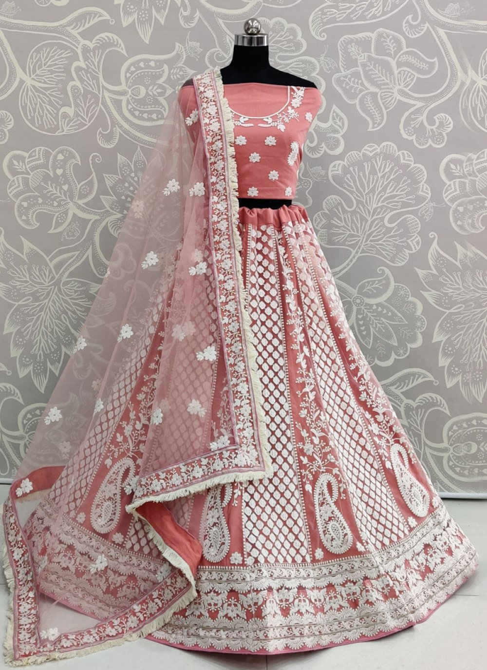 Rose Pink Thread Work A Line Lehenga Choli