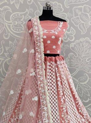 Rose Pink Thread Work A Line Lehenga Choli