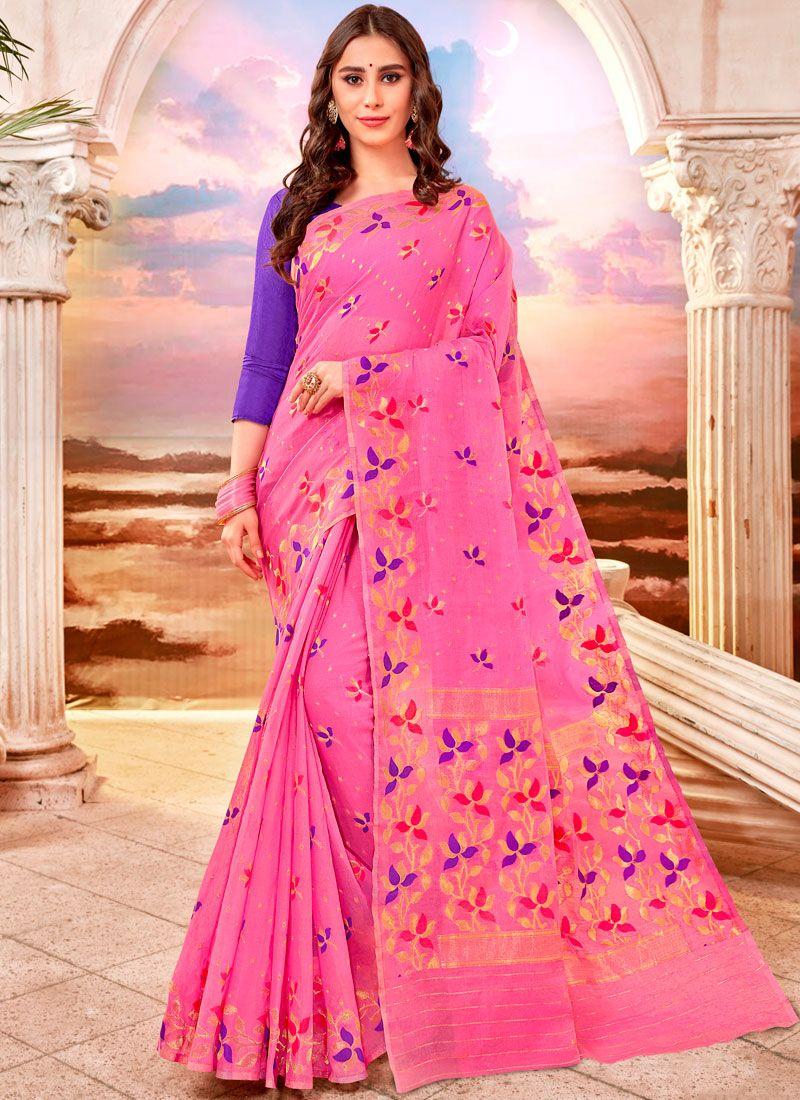 Rose Pink Weaving Classic Saree
