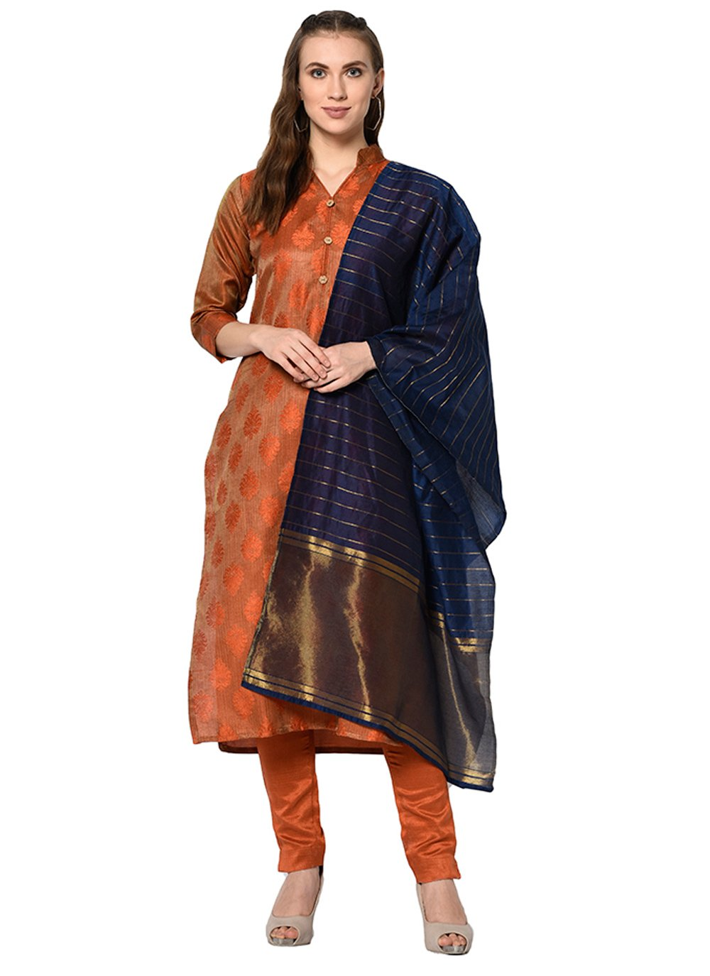 Rust Abstract Print Cotton Salwar Suit