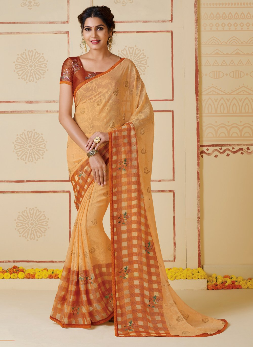 Rust Embroidered Bollywood Saree