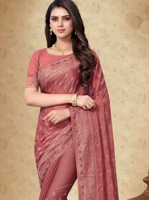 Rust Embroidered Mehndi Designer Saree