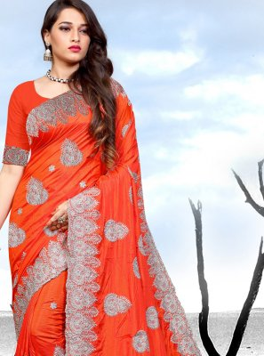 Rust Embroidered Saree