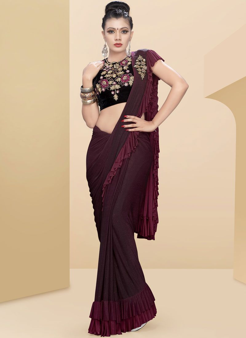 Rust Fancy Fabric Embroidered Traditional Saree