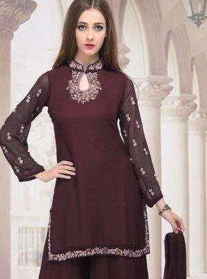 Rust Faux Georgette Trendy Palazzo Salwar Suit