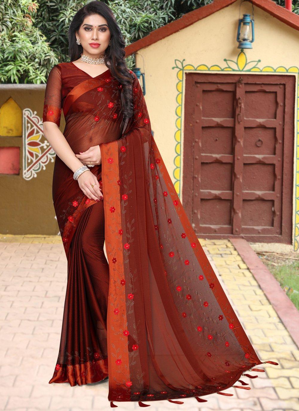 Rust Satin Festival Saree