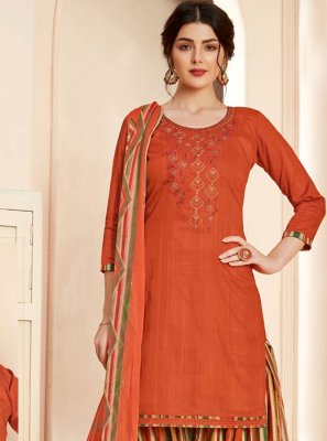 Rust Thread Work Salwar Suit