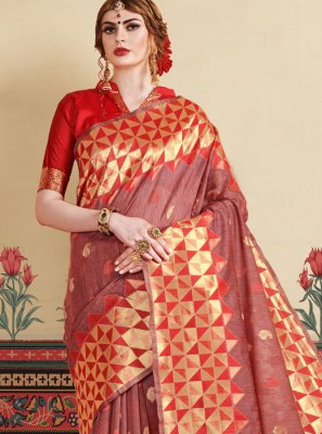 Rust Weaving Casual Saree