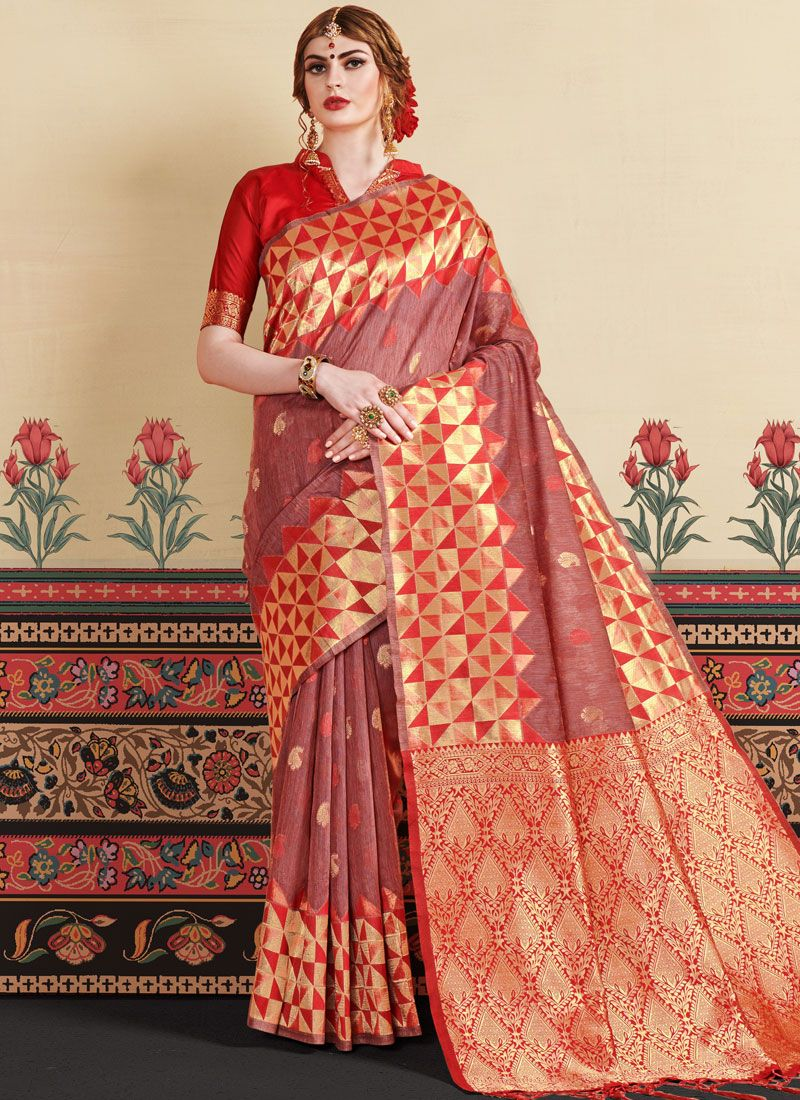 Rust Weaving Casual Saree