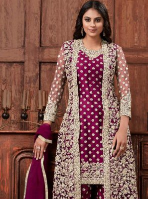 Salwar Kameez Cord Net in Wine