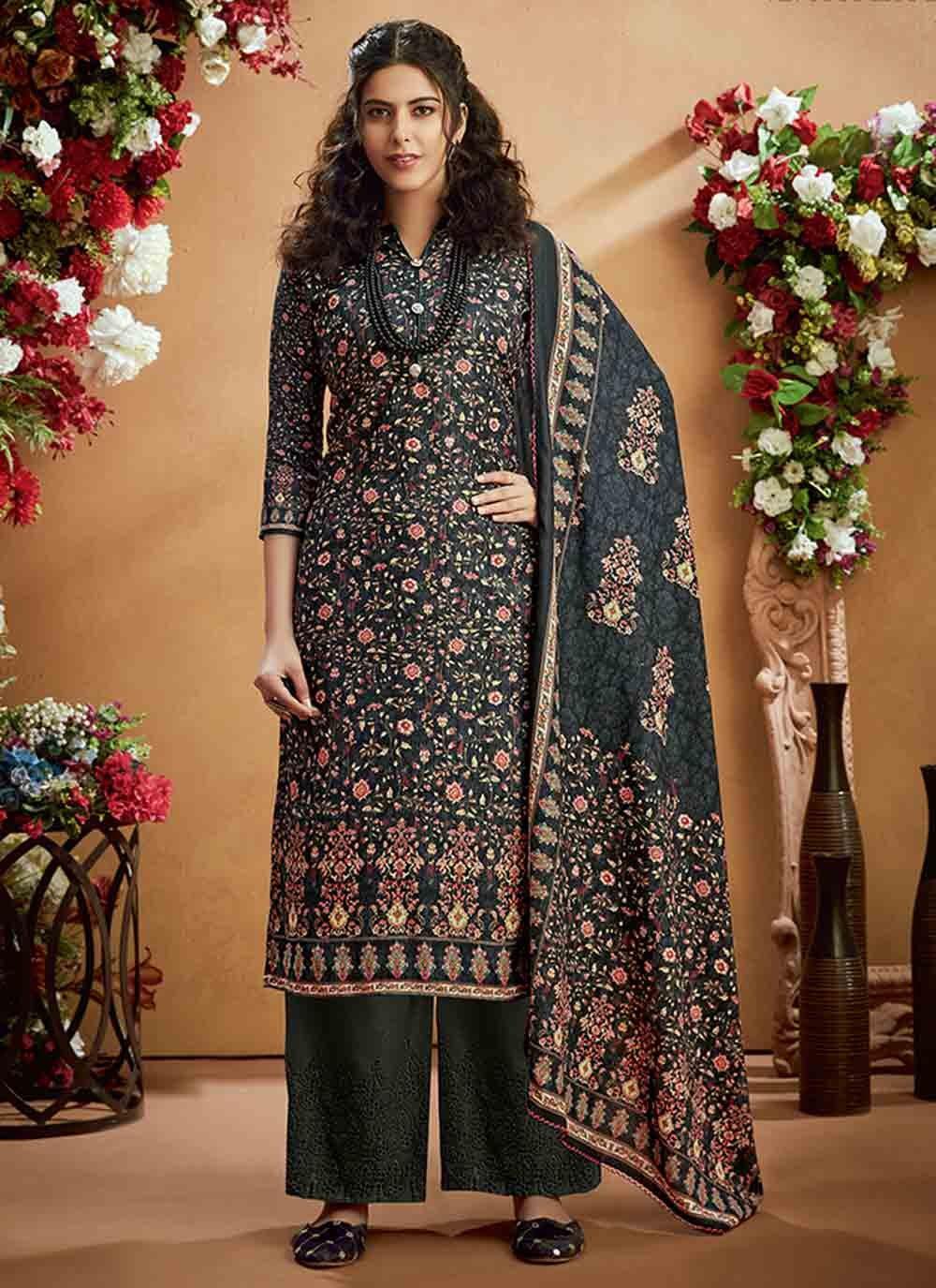 Salwar Kameez Digital Print Pashmina in Grey