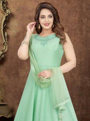 Salwar Kameez Embroidered Art Silk in Green
