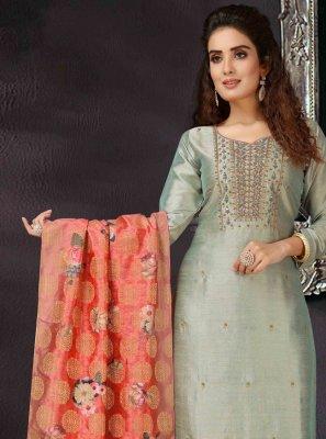 Salwar Kameez Embroidered Art Silk in Grey