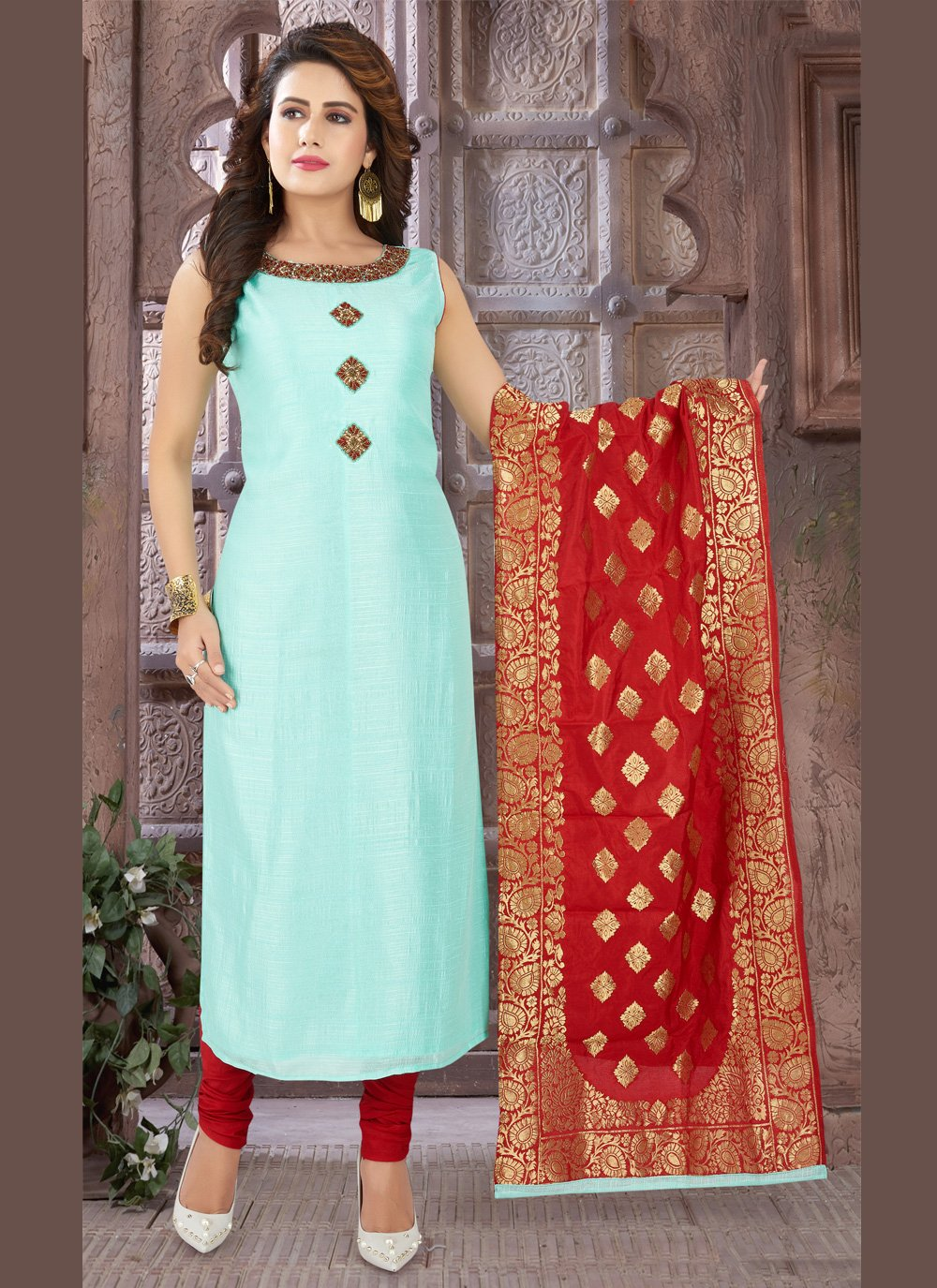 Salwar Kameez Embroidered Chinon in Aqua Blue