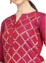 Salwar Kameez Embroidered Cotton in Magenta