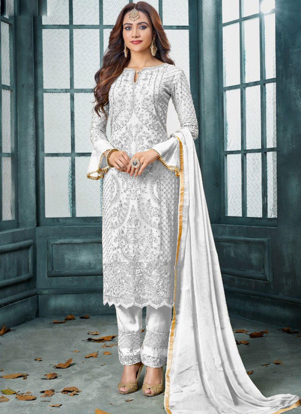 Salwar Kameez Embroidered Faux Georgette in White