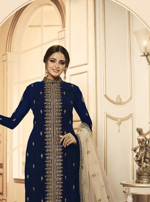 Salwar Kameez Embroidered Georgette in Navy Blue