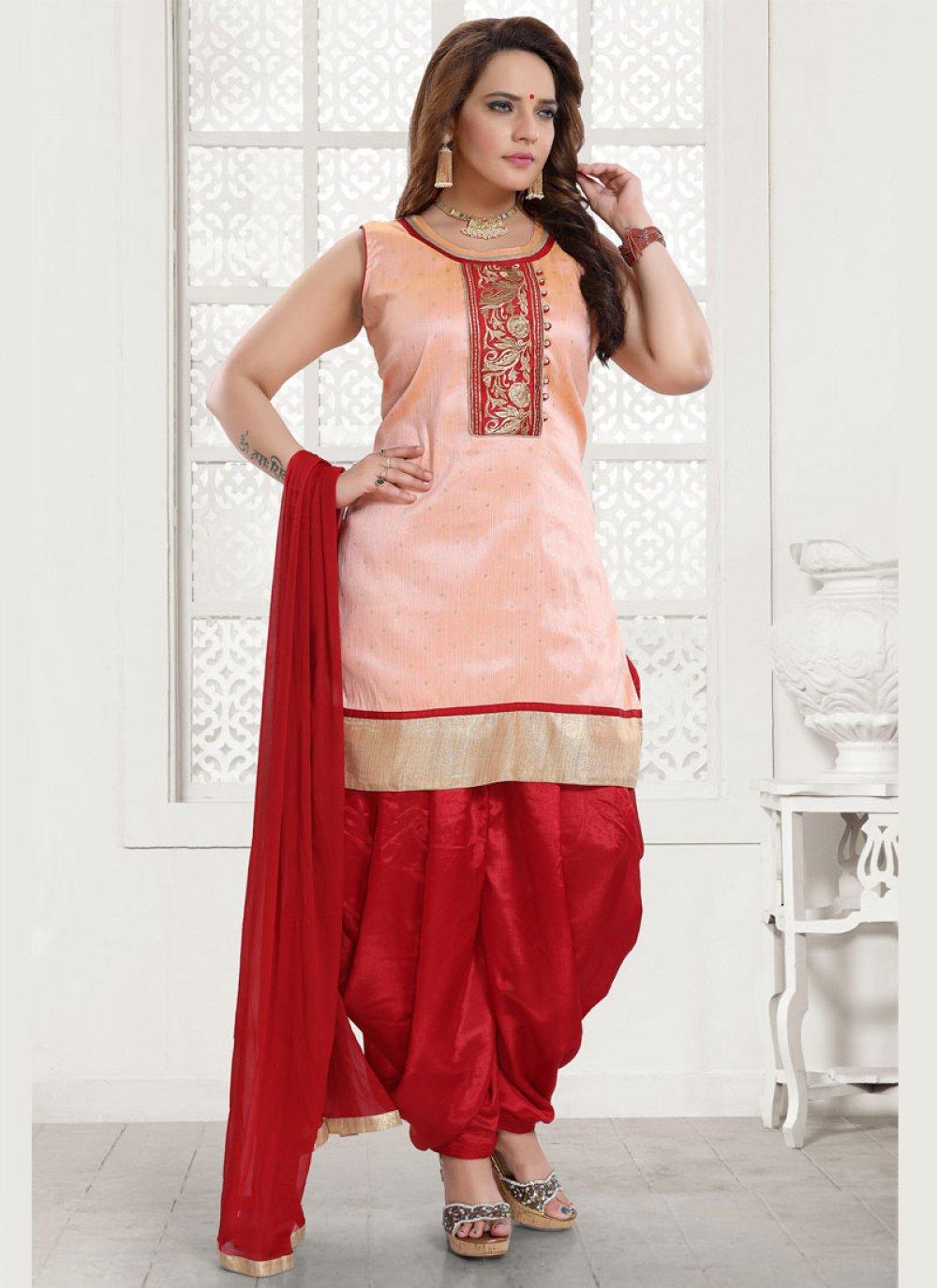 Salwar Kameez Embroidered Malbari Silk  in Peach